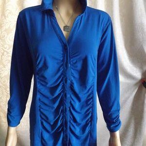 Womens DRESSBARN Blouse - Blue - Ruched! Sz XL